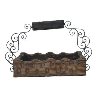 Vintage Wood and Wrought Iron Basket For Sale