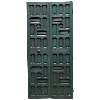 1940s Vintage Double Panel Moroccan Hunter Green Wooden Door For Sale