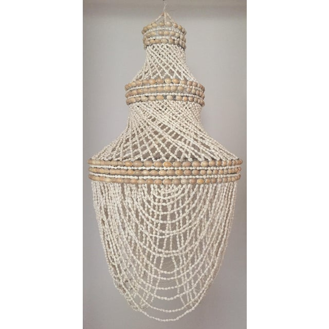 Boho Chic Beaded Shell Chandelier Lantern For Sale - Image 3 of 7