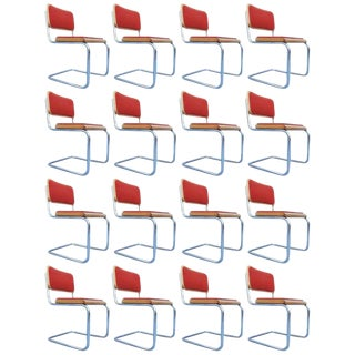 "Set of 17 Orange Marcel Breuer ""Cesca"" Chairs For Sale"