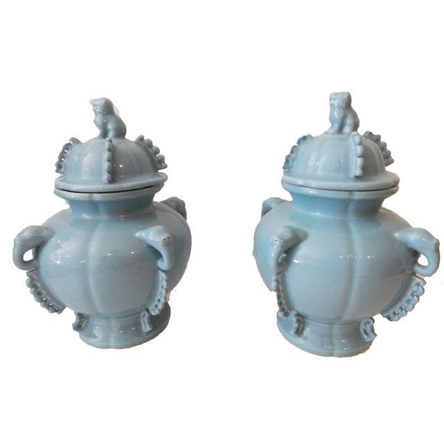 Blue Foo Dog Ginger Jars - A Pair - Image 4 of 5