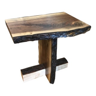 Mid-Century Modern Live Edge Walnut End Table For Sale