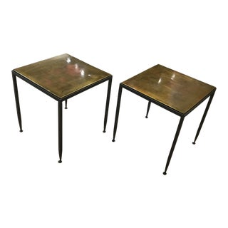 Vintage Mid-Century Modern Bronze and Brass Drink Tables - Set of 2 For Sale