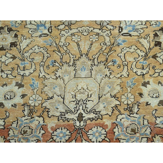 1920s Vintage Hand-Knotted Persian Tabriz Rug - 9′6″ × 13′1″ For Sale - Image 9 of 12