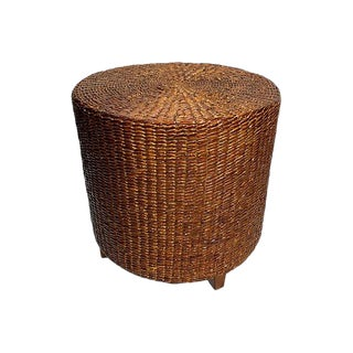 1970s Woven Seagrass Stool For Sale