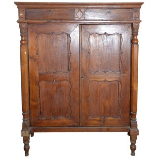 19th Century Dutch Colonial Lacquered Armoire With Columns and Paneled Doors For Sale