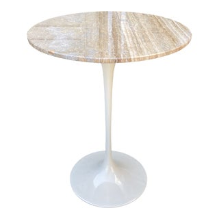 Maurice Villency Travertine Tulip Base Side Table For Sale
