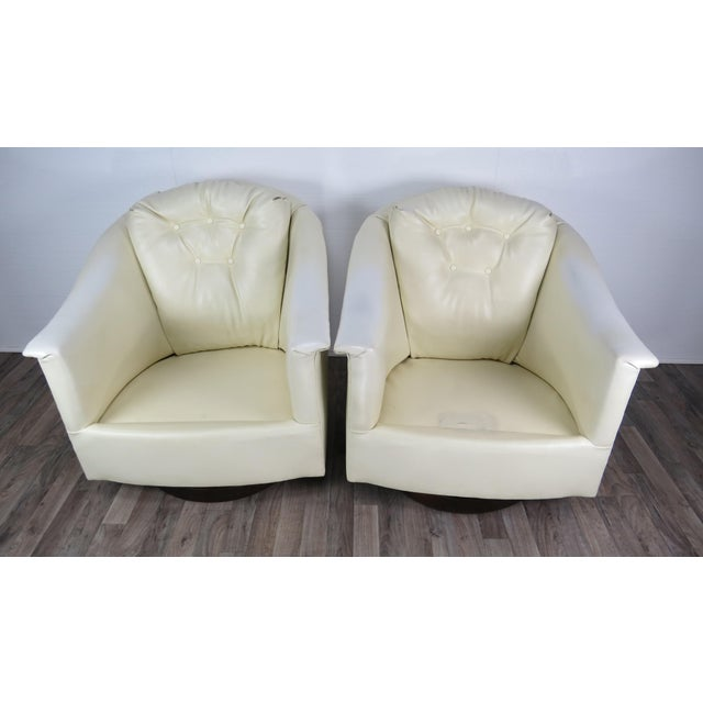 White 1970s Mid-Century Modern White Vinyl Swivel Chairs - a Pair For Sale - Image 8 of 13