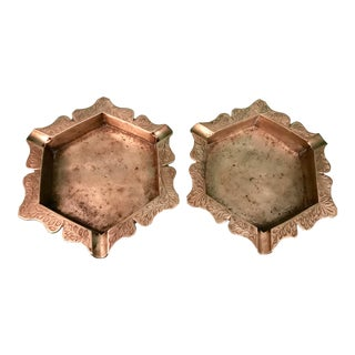 Twin Etched Brass Ashtrays - A Pair