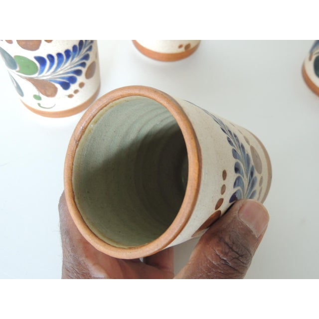 Set of Six Mexican Tonala Drinking Glasses. For Sale - Image 4 of 7