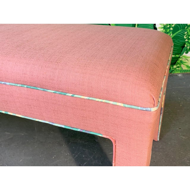 1980s Pink Upholstered Bench Seat Circa 1980s For Sale - Image 5 of 8
