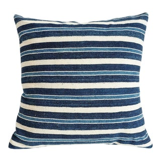 Indigo Striped Mudcloth Pillow For Sale
