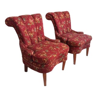 1980s French Country Brick Red Scroll Back Slipper Chairs - a Pair For Sale