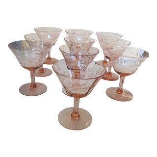 Etched Pink Crystal Glasses - Set of 10