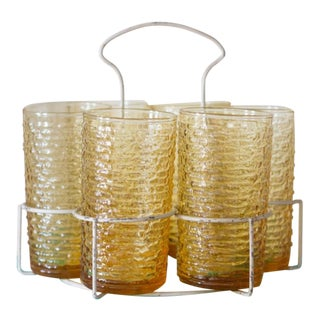 Gold Party Glasses & Carrier - Set of 6 For Sale