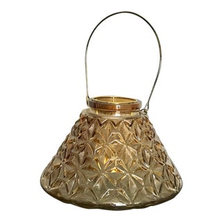 Amber Color Diamond Cut Moroccan Glass Lantern For Sale