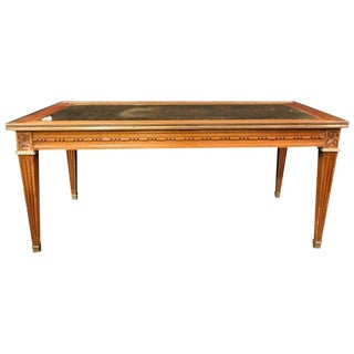 Hollywood Regency Mahogany Gilt Glass Top Jansen Style Coffee Table For Sale