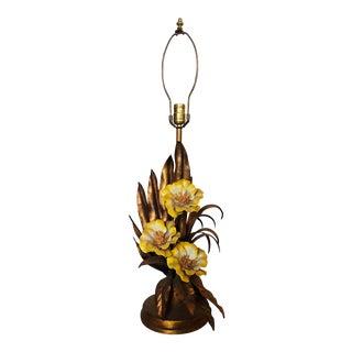 Vintage Italian Gold Gilt Tole Table Lamp For Sale