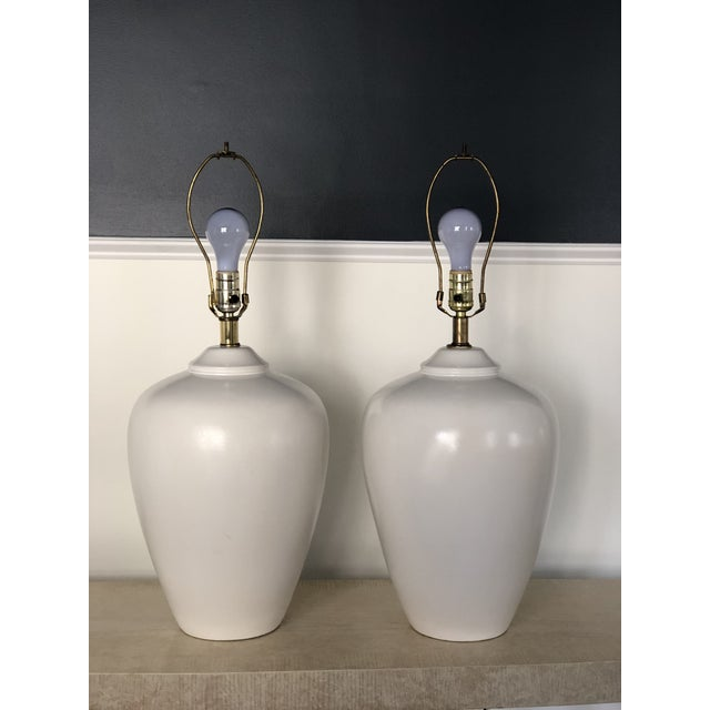 Modern Vintage White Modernist Ceramic Lamps - a Pair For Sale - Image 3 of 5