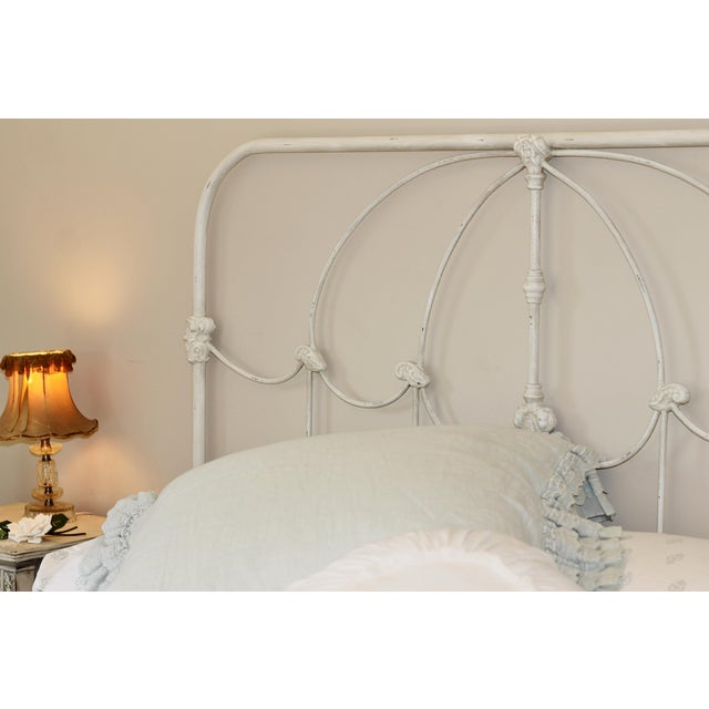 Vintage Inspired French Farmhouse Shabby Chic Iron Queen Bed For Sale - Image 4 of 5