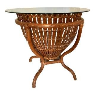 Vintage Bamboo Base Round Side Table For Sale