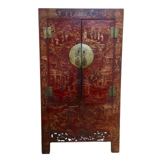 19th Century Chinese Qing Dynasty Red Lacquered Cabinet For Sale