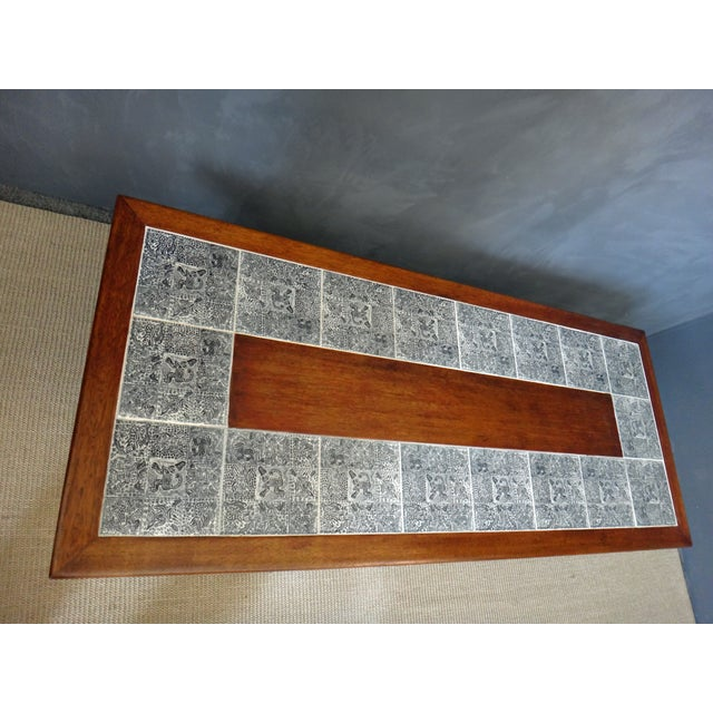 Mid-Century Coffee Table with Aztec Pattern Tiles - Image 4 of 6