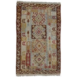 20th Century Boho Chic Afghani Shirvan Kilim Rug - 3′3″ × 5′5″ For Sale
