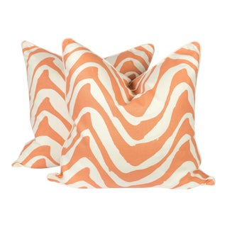 Coral and Ivory Linen Zebra Pillows - A Pair For Sale