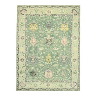 Contemporary Colorful Green Oushak Rug - 09'02 X 12'04 For Sale
