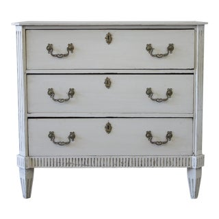 19th Century Painted Swedish Style 3-Drawer Chest For Sale