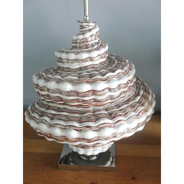 Gray Oversized Snail Shell Ceramic Table Lamp For Sale - Image 8 of 8