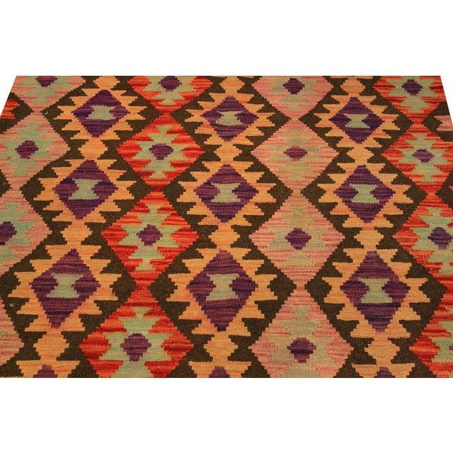 Textile Kilim Arya Nephele Rust/Purple Wool Rug -3'4 X 5'0 For Sale - Image 7 of 8