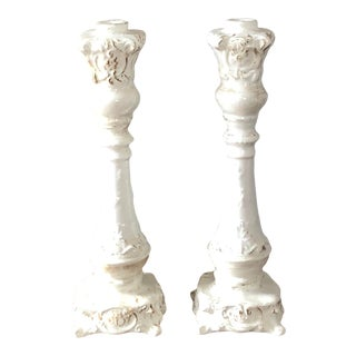 Vintage White Italian Pottery Candlesticks- a Pair For Sale