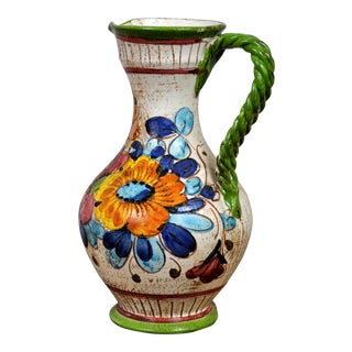 Vintage French Porcelain Pitcher With Beautiful Floral Motifs For Sale