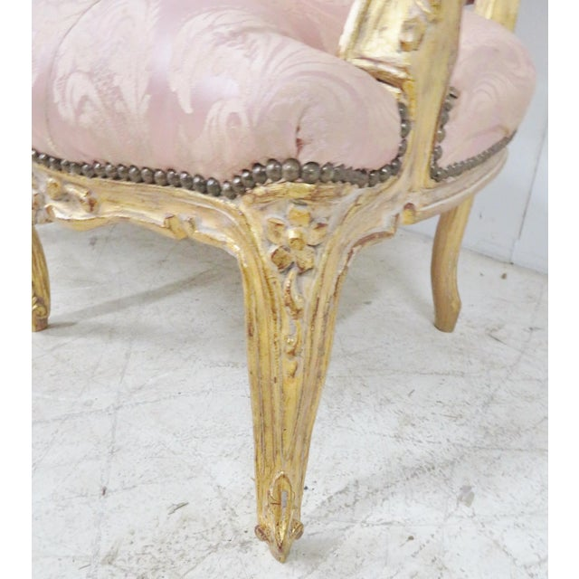 Pink Louis XV Style Gold Gilt Sofa For Sale - Image 8 of 12