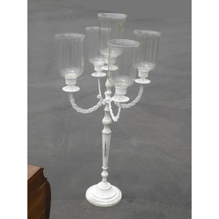 Vintage Shabby French Provincial 5 Arm White Tall Brass Candelabra Candle Holder Preview