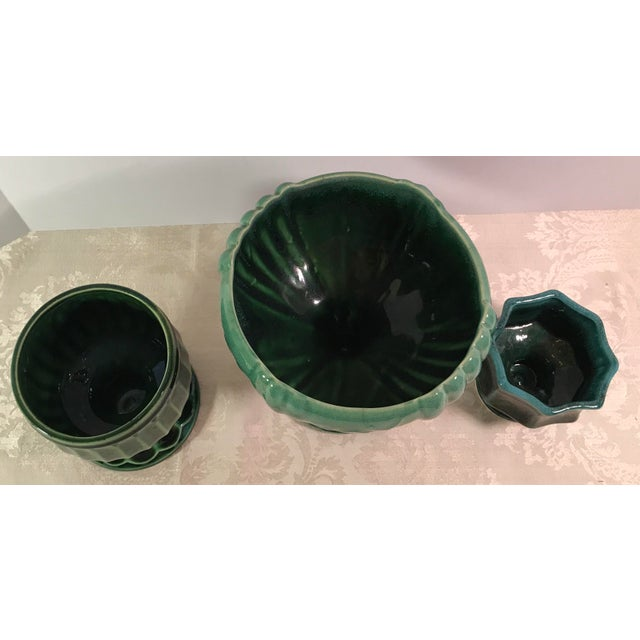 Green Drip Glaze Ceramic Planters - Set of 3 For Sale - Image 4 of 11