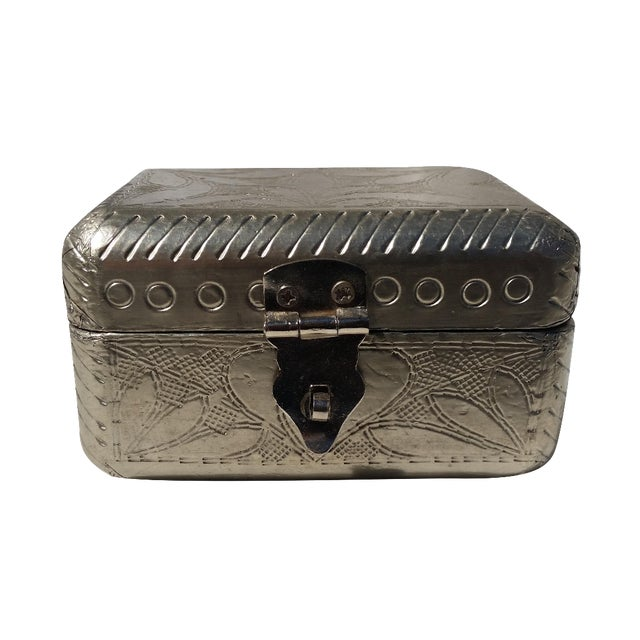 Vintage Metal Covered Wooden Box - Image 1 of 5
