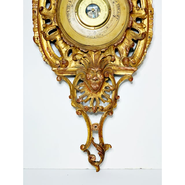 Gold 19th Century Italian Rococo Carved Barometer For Sale - Image 8 of 11