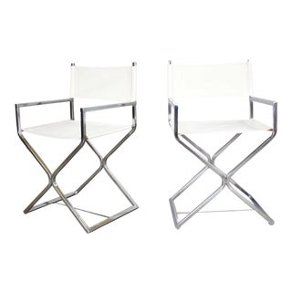 MCM Campaign Style Directors Chairs White & Chrome Attributed Robert Kjer Jakobsen for Virtue Brothers For Sale