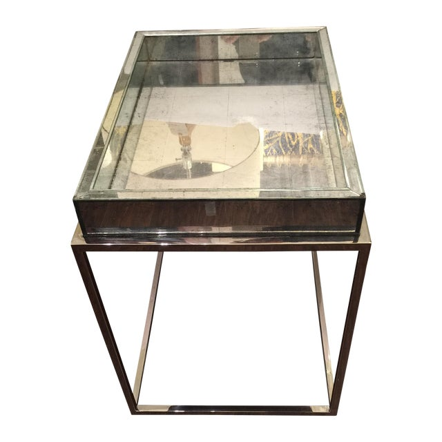 Antique Mirror & Chrome Occasional Table - Image 1 of 6