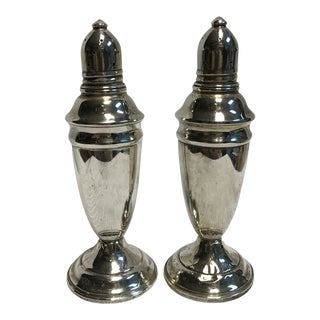 1930s Sterling Silver Salt & Pepper Shakers - a Pair For Sale