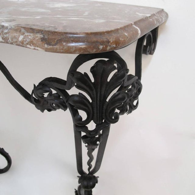 19th Century French Wrought Iron and Marble Console Table - Image 4 of 8
