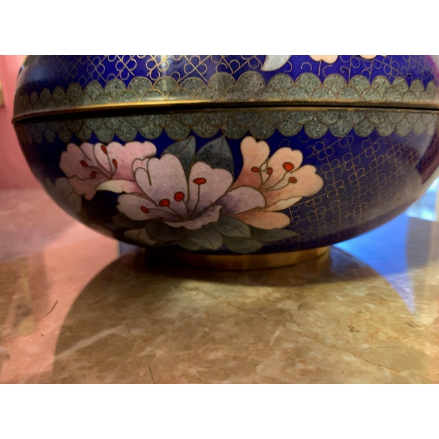 """Late 19th Century Large """"Cloisonne"""" Enamel Bronze Bowl With Top For Sale - Image 5 of 10"""