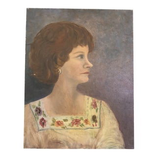 Portrait of Woman in Yellow Dress For Sale