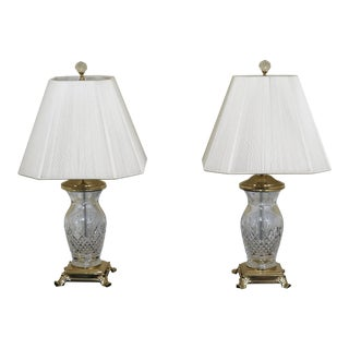 1990s Traditional Waterford Crystal & Brass Footed Table Lamps - a Pair For Sale
