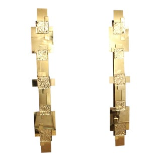 Pair of Long Reggiani Style Sculpture Polished Brass Wall Light or Sconces For Sale