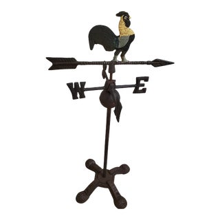 Vintage Rooster Weathervane on Stand Cast Iron For Sale