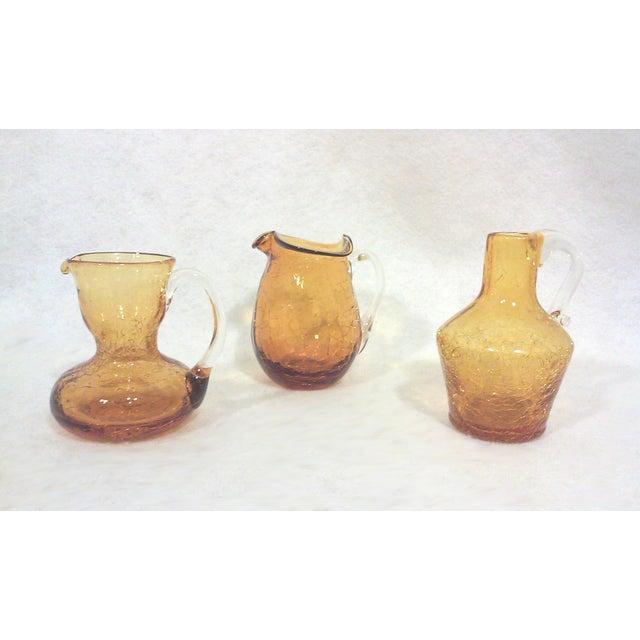 Blenko Blenko Mid-Century Gold Crackle Vases - Set of 3 For Sale - Image 4 of 5